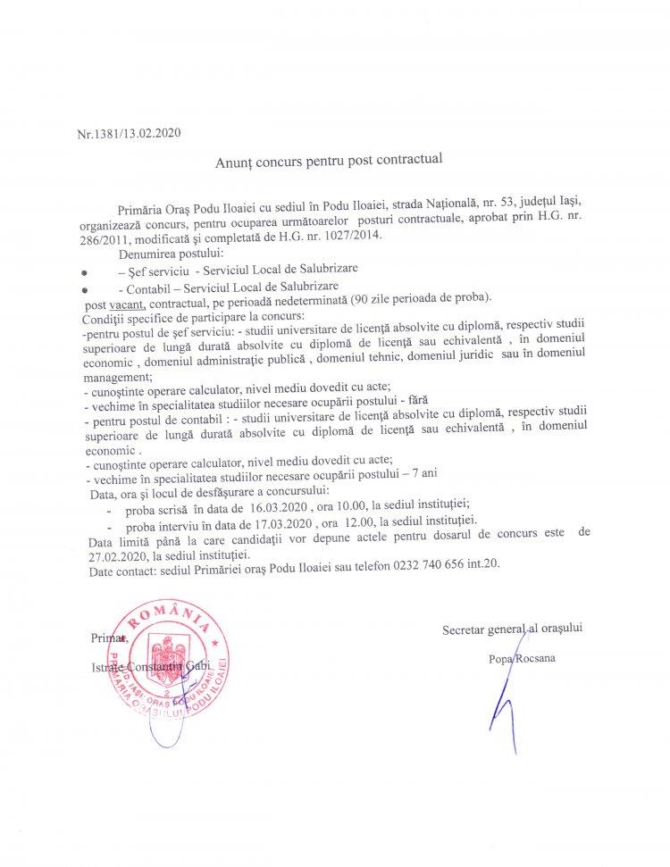 Anunț angajare contabil și șef serviciu – Serviciul Local de Salubrizare