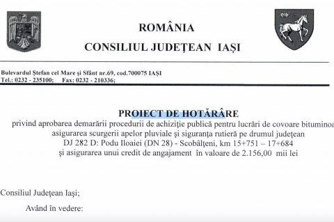 Proiect de hotarare CJ pentru asfaltare drum Podu Iloaiei - Scobalteni